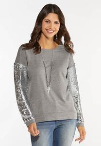Sequin Sleeve Sweatshirt