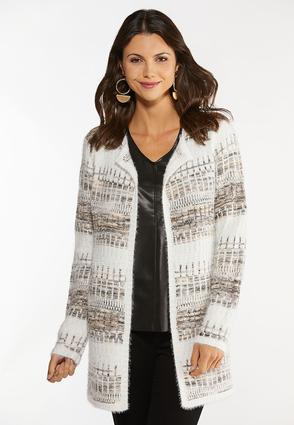 Plus Size Sandy Stripe Cardigan Sweater