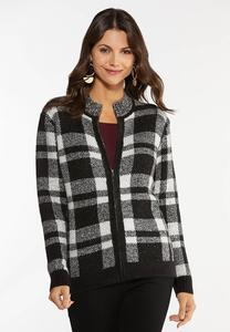 Plus Size Plaid Zip Cardigan Sweater