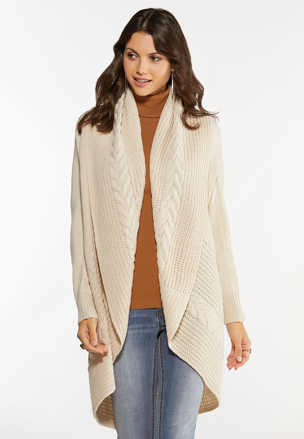 Cable Collar Cardigan Sweater