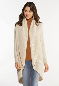 Plus Size Cable Collar Cardigan Sweater