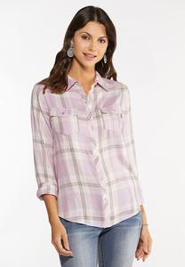 Plus Size Lavender Plaid Shirt