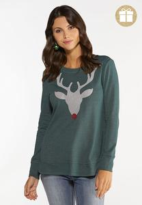 Beaded Reindeer Sweatshirt