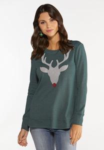 Plus Size Beaded Reindeer Sweatshirt