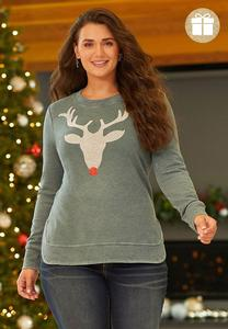 Plus Size Beaded Reindeer Sweatshirt