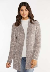 Plus Size Blush Boucle Cardigan Sweater