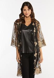 Plus Size Gold Embroidered Kimono