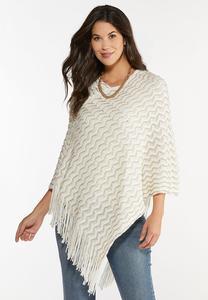 Ivory Sequin Sweater Poncho