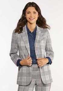 Plus Size Hint Of Pink Plaid Jacket