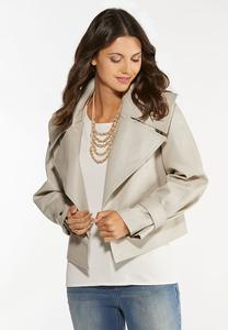 Plus Size Beige Faux Leather Jacket