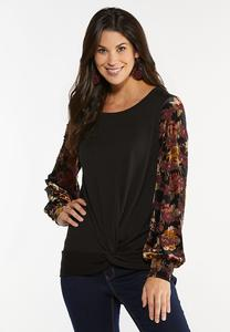 Plus Size Velvet Floral Sleeve Top