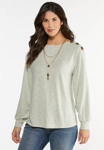 Plus Size Button Shoulder Top