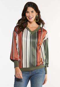 Plus Size Spice Striped Top