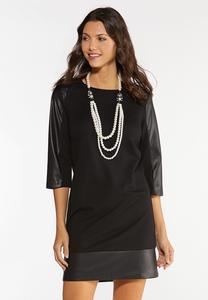 Plus Size Faux Leather Panel Ponte Dress