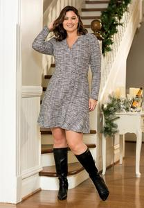 Plus Size Boucle Button Dress