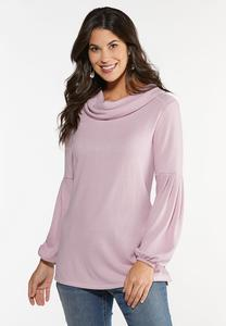 Plus Size Ribbed Cowl Neck Top