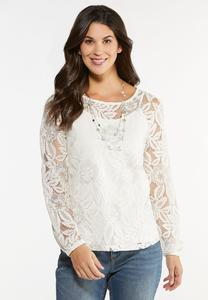 Plus Size Metallic Lace Top