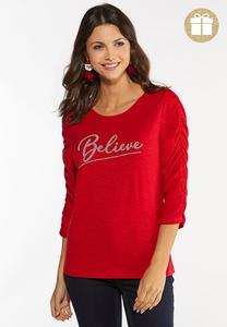 Plus Size Beaded Believe Top