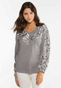 Plus Size Velvet Scroll Hacci Top