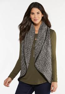 Plus Size Faux Leather Trim Sweater Vest