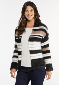 Plus Size Fuzzy Striped Cardigan Sweater