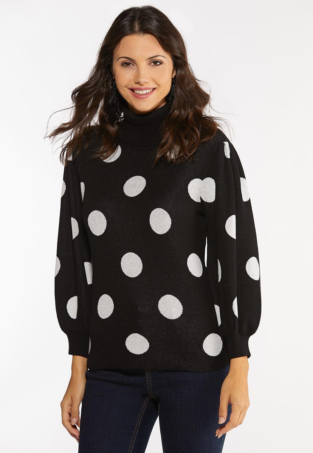 Polka Dot Puff Sleeve Sweater