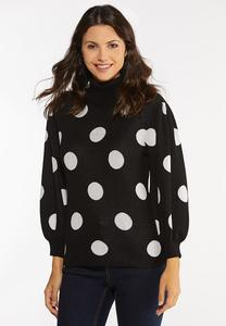 Plus Size Polka Dot Puff Sleeve Sweater