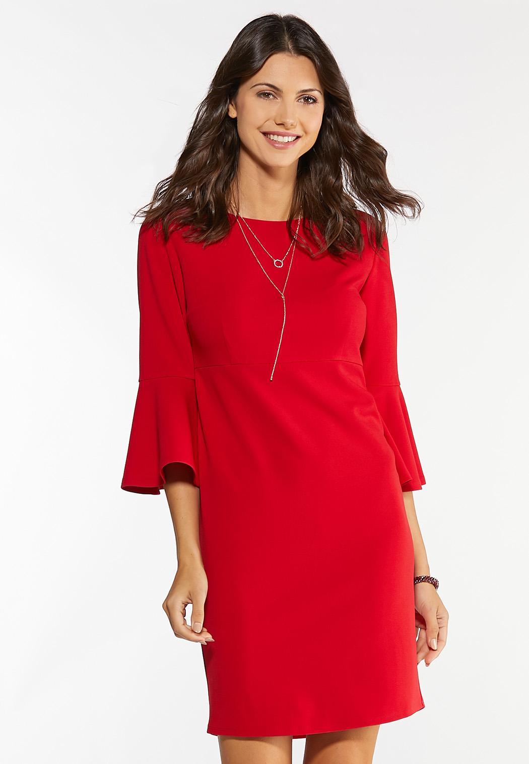 Plus Size Red Scuba Sheath Dress