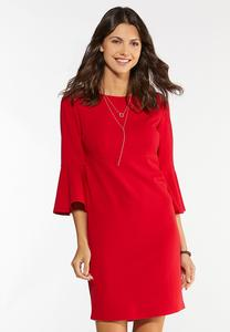 Plus Size Red Scuba Sheath Dress