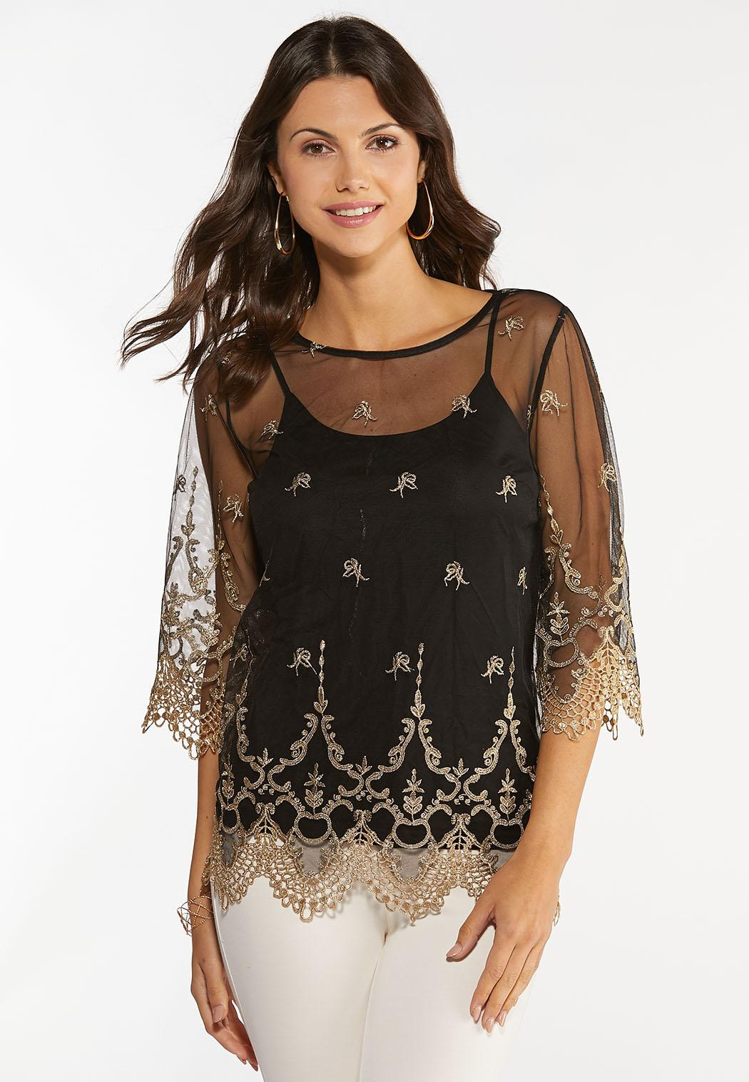 Plus Size Gold Embroidered Mesh Top