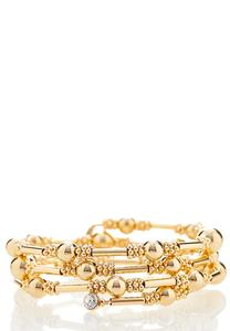 Gold Ball Bar Coil Bracelet