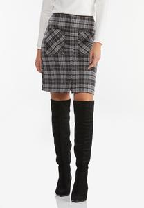 Plus Size Wine Plaid Midi Skirt