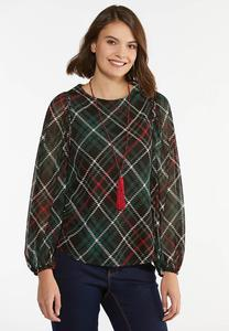 Plus Size Plaid Mesh Balloon Sleeve Top