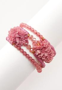 Floral Chiffon Bead Bracelet
