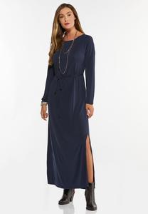 Navy Belted Waist Maxi Dress
