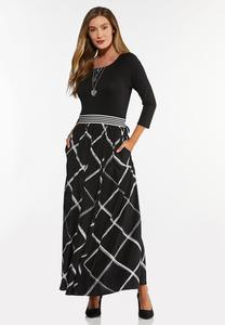 Petite Striped Waist Maxi Dress