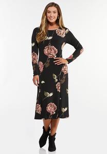 Plus Size Romantic Floral Midi Dress