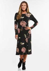 Plus Size Romantic Floral Midi Dress