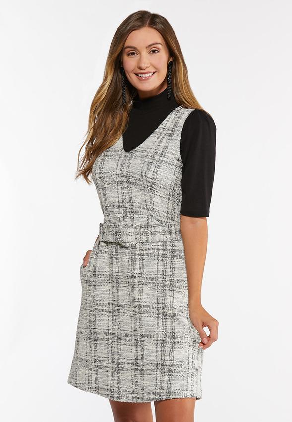 Belted Boucle Jumper Dress