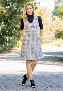 Belted Boucle Jumper Dress