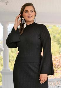 Plus Size Cable Mock Neck Sweater