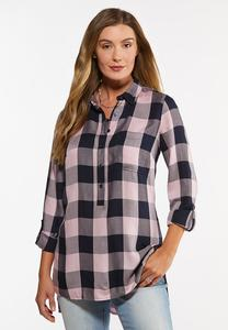 Plus Size Pink Navy Plaid Tunic