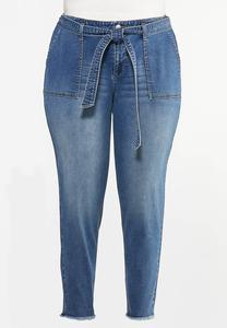 Plus Size Tie Waist Jeans