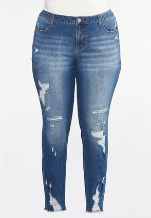 Plus Size Distressed Jeggings