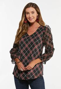 Plus Size Sheer Ruffled Sleeve Top