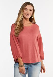 Textured Balloon Sleeve Top