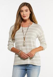 Plus Size Oatmeal Stripe High-Low Top