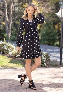 Plus Size Polka Dot Babydoll Dress