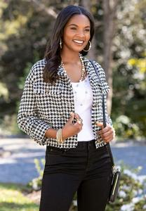 Plus Size Tweed Houndstooth Jacket
