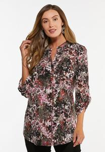 Plus Size Brushed Floral Top